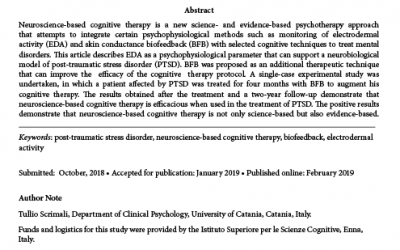 Neuroscience-Based Cognitive Therapy for the Treatment of Post-Traumatic Stress Disorder